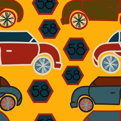 Husbands Cars Autos Pattern On A Yellow Background Magic Photo Cubes