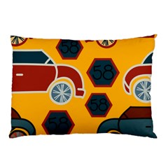 Husbands Cars Autos Pattern On A Yellow Background Pillow Case (two Sides) by Nexatart