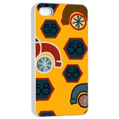 Husbands Cars Autos Pattern On A Yellow Background Apple Iphone 4/4s Seamless Case (white)