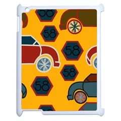 Husbands Cars Autos Pattern On A Yellow Background Apple Ipad 2 Case (white) by Nexatart