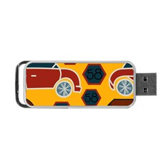Husbands Cars Autos Pattern On A Yellow Background Portable Usb Flash (one Side) by Nexatart