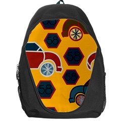 Husbands Cars Autos Pattern On A Yellow Background Backpack Bag
