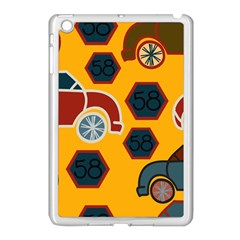 Husbands Cars Autos Pattern On A Yellow Background Apple Ipad Mini Case (white) by Nexatart