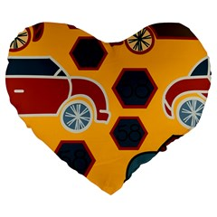 Husbands Cars Autos Pattern On A Yellow Background Large 19  Premium Heart Shape Cushions