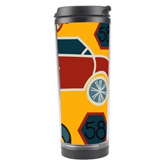 Husbands Cars Autos Pattern On A Yellow Background Travel Tumbler by Nexatart