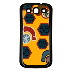 Husbands Cars Autos Pattern On A Yellow Background Samsung Galaxy S3 Back Case (black)