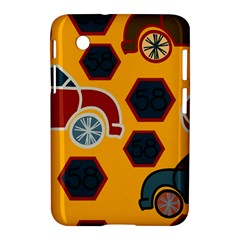 Husbands Cars Autos Pattern On A Yellow Background Samsung Galaxy Tab 2 (7 ) P3100 Hardshell Case