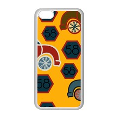 Husbands Cars Autos Pattern On A Yellow Background Apple Iphone 5c Seamless Case (white)