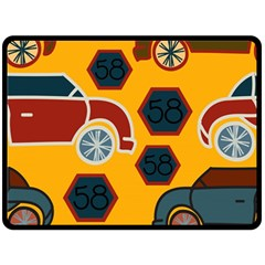 Husbands Cars Autos Pattern On A Yellow Background Double Sided Fleece Blanket (large)  by Nexatart