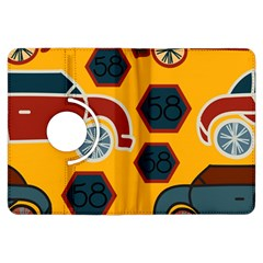 Husbands Cars Autos Pattern On A Yellow Background Kindle Fire Hdx Flip 360 Case by Nexatart