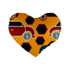 Husbands Cars Autos Pattern On A Yellow Background Standard 16  Premium Flano Heart Shape Cushions by Nexatart