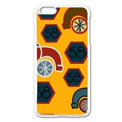 Husbands Cars Autos Pattern On A Yellow Background Apple Iphone 6 Plus/6s Plus Enamel White Case by Nexatart