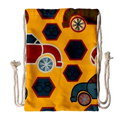 Husbands Cars Autos Pattern On A Yellow Background Drawstring Bag (large)