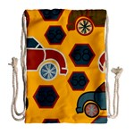 Husbands Cars Autos Pattern On A Yellow Background Drawstring Bag (Large) Back