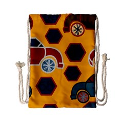 Husbands Cars Autos Pattern On A Yellow Background Drawstring Bag (small)