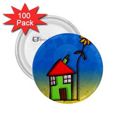 Colorful Illustration Of A Doodle House 2 25  Buttons (100 Pack)