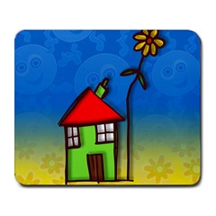 Colorful Illustration Of A Doodle House Large Mousepads by Nexatart
