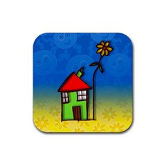 Colorful Illustration Of A Doodle House Rubber Square Coaster (4 Pack)  by Nexatart