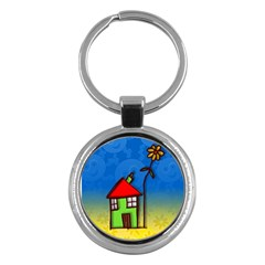 Colorful Illustration Of A Doodle House Key Chains (round)  by Nexatart