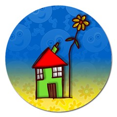 Colorful Illustration Of A Doodle House Magnet 5  (round) by Nexatart