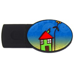 Colorful Illustration Of A Doodle House Usb Flash Drive Oval (2 Gb)