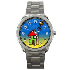 Colorful Illustration Of A Doodle House Sport Metal Watch