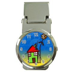 Colorful Illustration Of A Doodle House Money Clip Watches by Nexatart