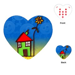 Colorful Illustration Of A Doodle House Playing Cards (heart)