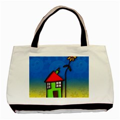Colorful Illustration Of A Doodle House Basic Tote Bag