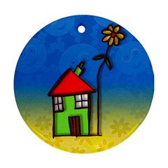 Colorful Illustration Of A Doodle House Round Ornament (two Sides) by Nexatart