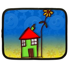 Colorful Illustration Of A Doodle House Netbook Case (large) by Nexatart