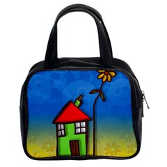 Colorful Illustration Of A Doodle House Classic Handbags (2 Sides) by Nexatart
