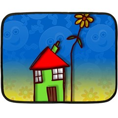 Colorful Illustration Of A Doodle House Fleece Blanket (mini) by Nexatart