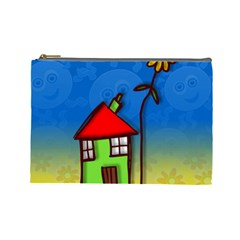 Colorful Illustration Of A Doodle House Cosmetic Bag (large)