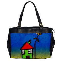 Colorful Illustration Of A Doodle House Office Handbags by Nexatart