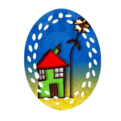 Colorful Illustration Of A Doodle House Oval Filigree Ornament (two Sides) by Nexatart