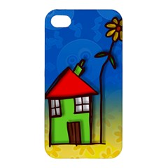 Colorful Illustration Of A Doodle House Apple Iphone 4/4s Premium Hardshell Case