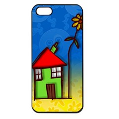 Colorful Illustration Of A Doodle House Apple iPhone 5 Seamless Case (Black)