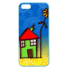 Colorful Illustration Of A Doodle House Apple Seamless Iphone 5 Case (color)