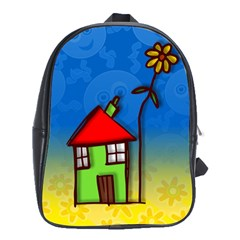 Colorful Illustration Of A Doodle House School Bags (xl)  by Nexatart