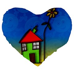 Colorful Illustration Of A Doodle House Large 19  Premium Heart Shape Cushions by Nexatart
