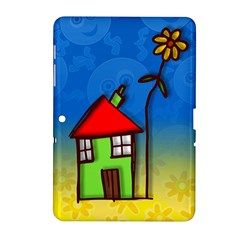 Colorful Illustration Of A Doodle House Samsung Galaxy Tab 2 (10 1 ) P5100 Hardshell Case