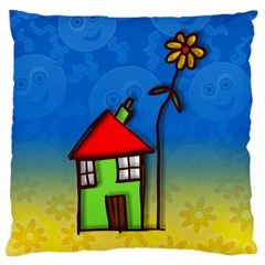 Colorful Illustration Of A Doodle House Large Flano Cushion Case (two Sides)