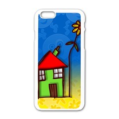 Colorful Illustration Of A Doodle House Apple Iphone 6/6s White Enamel Case
