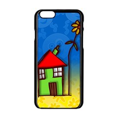 Colorful Illustration Of A Doodle House Apple Iphone 6/6s Black Enamel Case