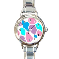 Baby Pink Girl Party Pattern Colorful Background Art Digital Round Italian Charm Watch