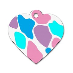 Baby Pink Girl Party Pattern Colorful Background Art Digital Dog Tag Heart (one Side)