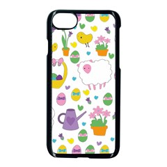 Cute Easter Pattern Apple Iphone 7 Seamless Case (black) by Valentinaart