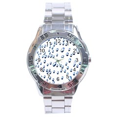 Water Drops On White Background Stainless Steel Analogue Watch by Nexatart