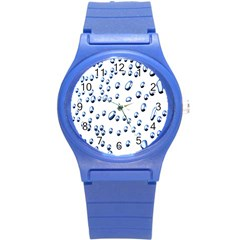 Water Drops On White Background Round Plastic Sport Watch (s) by Nexatart